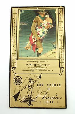 Vintage 1941 Boy Scouts SH Hines Private Ambulance Service Tear Off Calendar
