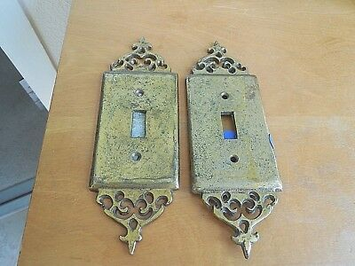 2 Vintage Brass Hammered Light Switch Wall Plates - Single toggle