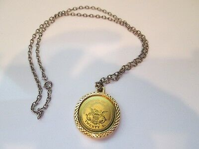 Bicentennial 1776 Twenty D ~ Silver Toned Coin Necklace Vintage Costume Jewelry