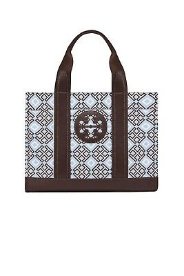 a7988c2240d New Womens Tory Burch 4T Printed Cadet Blue Classic Logo Tote Handbag Purse