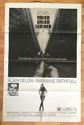 1970 - NAKED UNDER LEATHER - Alain Delon - ORIGINAL MOVIE POSTER 27x41 1 Sheet