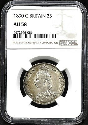 1890 Ngc Au-58 One Florin / Two Shillings Great Britain