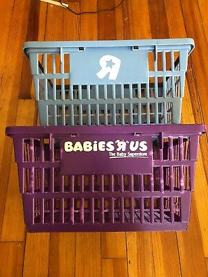 2 Vintage 90's Toys R Us and babies r us PLASTIC SHOPPING BASKETs sign Geoffrey