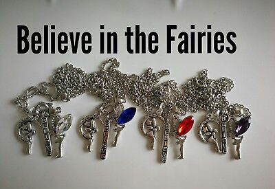 Code 896 Believe in the Fairies Infused Necklace Fairy Ava red blue clear purple
