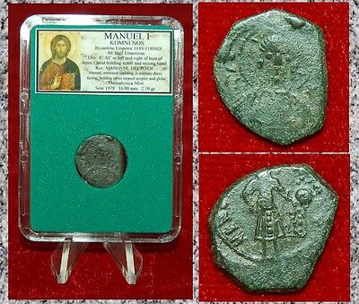 Ancient Byzantine Empire Coin MANUEL I Jesus Christ On Obverse Half Tetarteron
