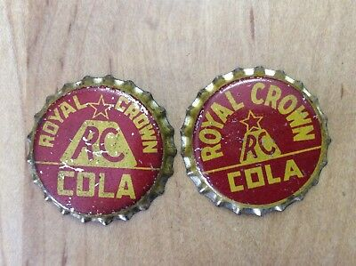 2 Different    RC - Royal Crown   Soda  Bottle Caps -  Unused - Cork  Lined