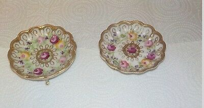 Hand Painted Early Nippon Small Nut Bowls  Heavy Gold Gilding Roses