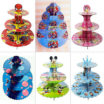 Cupcake Stand cardboard 3 Tier Wedding Birthday Parties Disney Marvel Disposable