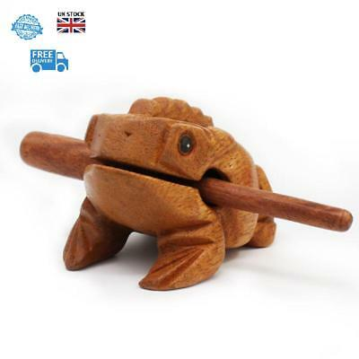 Hand Curved Wooden Guiro Frog With Mallet Musical Instrument Sound Large 10.5cm