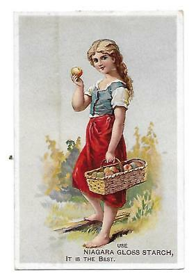 1880s NIAGARA GLOSS STARCH + GIRL W/ APPLES + ADVERTISING VICTORIAN TRADE CARD