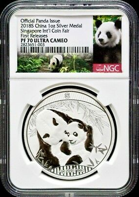 2018 China Singapore Int'l Coin Fair Silver Panda NGC PF70 First Releases-500pcs