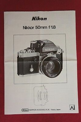 VTG.1978 Nikon AI Lens Nikkor 50mm f/1.8 Instruction Manual Very Good Condition