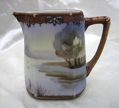 Hand Painted Nippon Creamer with Lake Scene