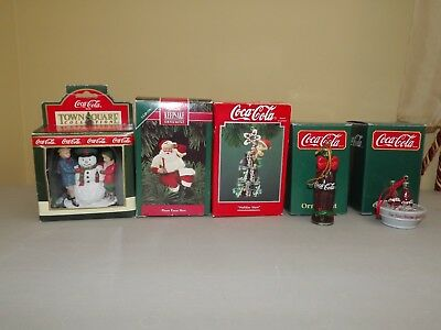 Coca Cola Ornaments Santa, Holiday Stars, Bottles, Police Officer Lot of 5