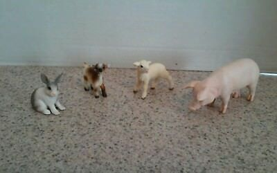 Scleich Farm Animal Lot - sow, lamb, kid, rabbit