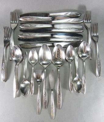 Set of 52 Oneida Community 1960 Song Autumn Place Spoon Fork Knife Serving Wheat