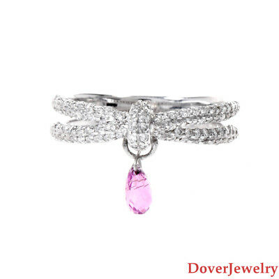 Estate Diamond 1.26ct Pink Sapphire 14K White Gold Dangle Crossover Ring NR