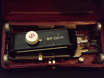 Vintage Singer Sewing Machine Attachment Button Holer With Case Awesome!!!