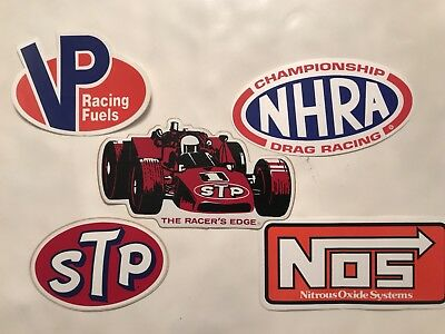 Lot Of 5 Vintage INDY STP NHRA VP NOS FUEL Race Car Tool Box Stickers/decals