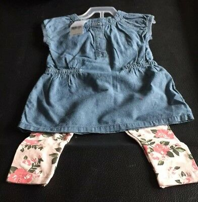 Nwt Carters Girls 2 Piece Denim Like And Floral Size 2T