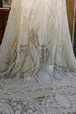 Antique Normandy Lace Tablecloth or Coverlet, Creamy Ivory, 90 x 76, Estate