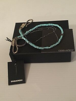 Dsquared2 Turquoise And Silver Keychain/ Wallet Chain/ Key ring