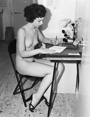 1960's Vintage Nude Pin up Writing At Desk 8.5 x 11 Photograph