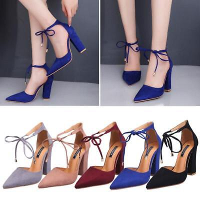 Women Pointed Toe Pumps Ankle Strap Block High Heels Lace Up Sandals Shoes Party