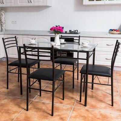 5-Pcs Dining Set Glass Top Table 4 Chairs Set Home Dinette Kitchen Furniture NEW