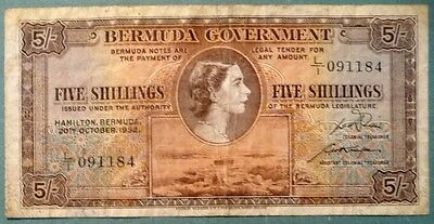 BERMUDA 5 SHILLINGS NOTE ISSUED 20.10. 1952 , P 18 a , QUEEN