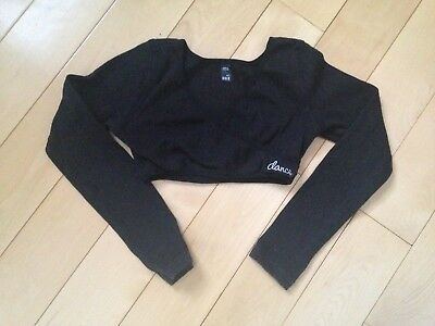 Girls Bloch Dancewear Crossover Shrug Sweater Top Black Dance Size 6x-7