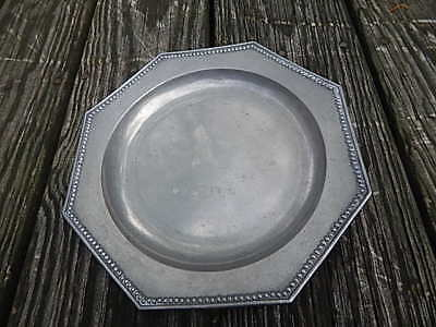 Antique Raised Beaded Pewter Charger/Plate With Vt Crown Over Rose Hallmark Intl