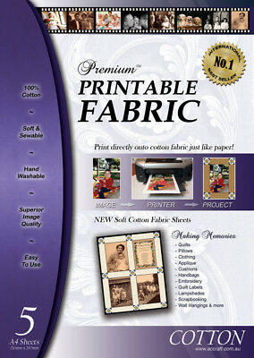 5 x Inkjet Fabric Premium Printable Fabric 100% Cotton washable Memory Quilts