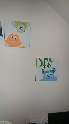 New Disney Baby Monsters Inc. Canvas Wall Art Nursery Baby Kids Room Decor 2pc