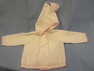 vintage baby sweater Marshall Field, white and pink w/ hood, acrylic, 3-12 mos