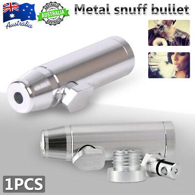 Good Snorter Snuffer Tube Vial Rocket Snuff Alloy Bullet Box Powder Dispenser AU