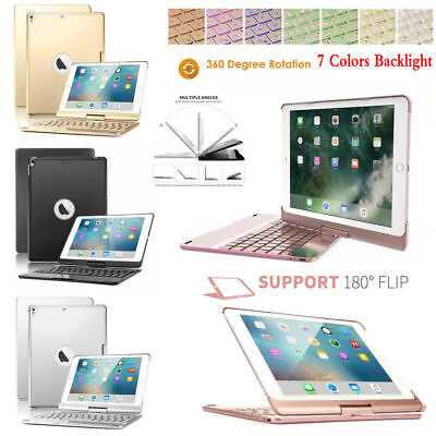 7 Color Backlit Bluetooth Keyboard 360 Swivel Case For iPad 6th Gen 9.7 2018/Air