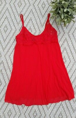 Victoria's Secret Babydoll Cami Red Lace Women's Size Large