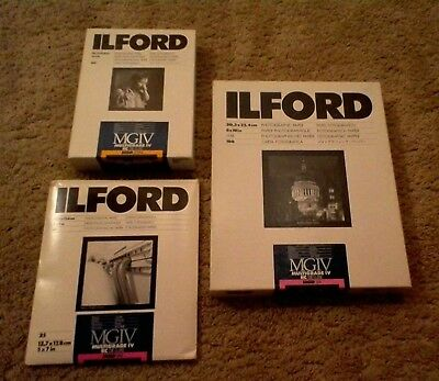 Ilford Photographic Paper Lot Multigrade IV MGD .1M 100 Glossy Plus 5x7 .25m