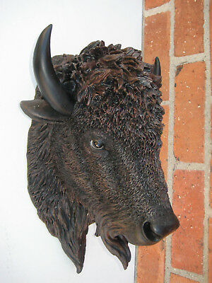 Huge Buffalo Head Wall Mount Sculpture Statue Decoration Lodge Cabin Home Decor