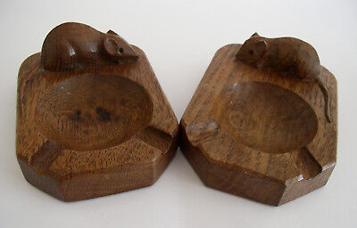 Two  Edward Thompson 'Mouseman' Seasoned Oak Ashtrays