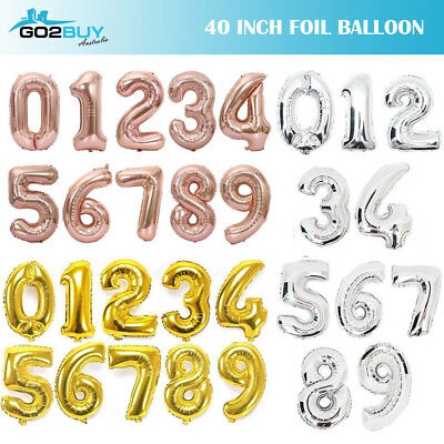 "40"" Gold/Silver/Rose Gold Foil Number Balloon Birthday Wedding Party Decoration"