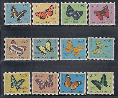 Mozambique 1953 butterflies to 2$50 Sc 364-375 mint never higed