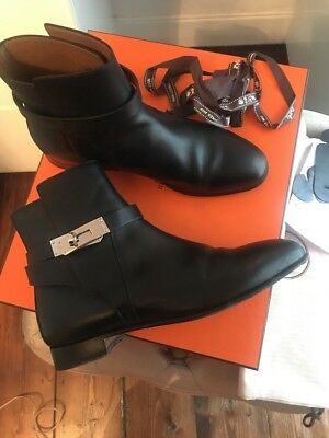 buy popular 3a89f 1fb4c HERMES NEO BLACK Ankle Boots Size 38 Uk 5 Kelly Buckle