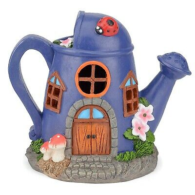 Solar Powered Fairy House LED Watering Can Garden Light Outdoor Ornament Purple