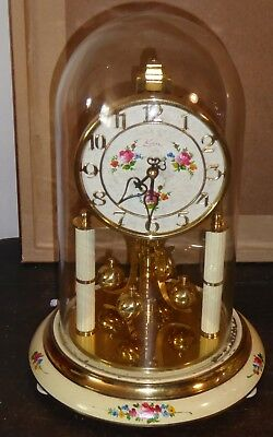 Vintage glass domed 400 day anniversary clock by Kern of Germany needs attention