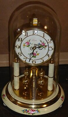 Vintage glass domed 400 day anniversary clock by Kern of Germany GWO