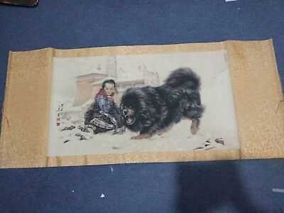 Excellent old Chinese Scroll Painting By Tang Jian: Tibetan mastiff c157