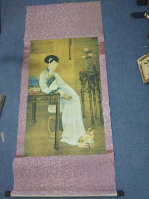 Excellent old Chinese Scroll Painting By Leng Mei: lady c20