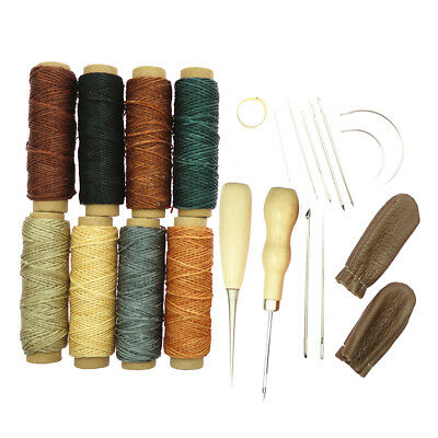 22pcs Leather Craft Hand Stitching Sewing Tools Set Thread Awl Waxed Thimble